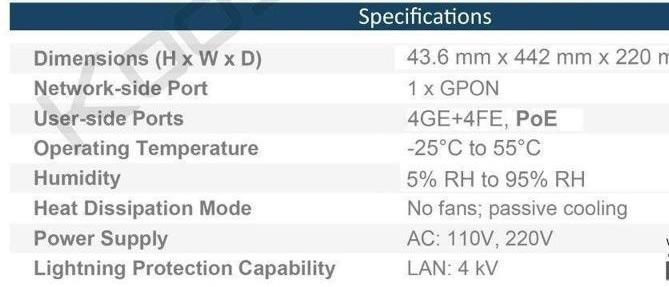 Huawei SmartAX MA5626 POE مشخصات فنی
